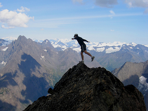 """Balancing on the Brink."" Eagle Peak summit, Chugach Mountains, Alaska"