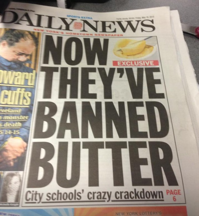 butter banned in NYC schools