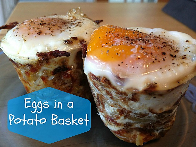 eggs in a potato basket