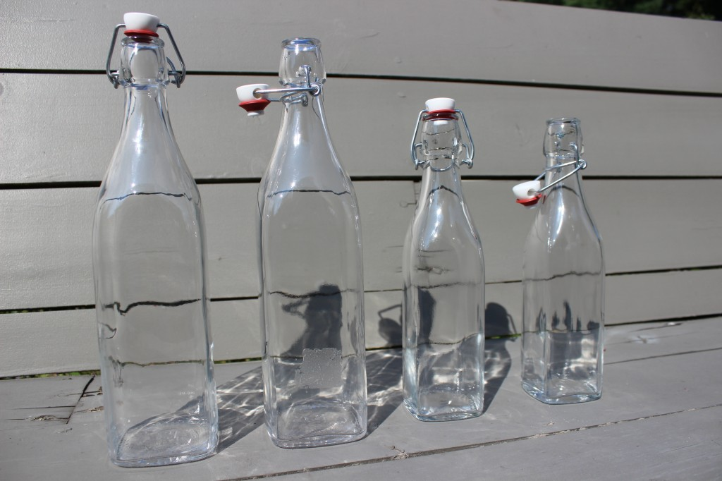 Soda bottles with swing tops used for watermelon soda