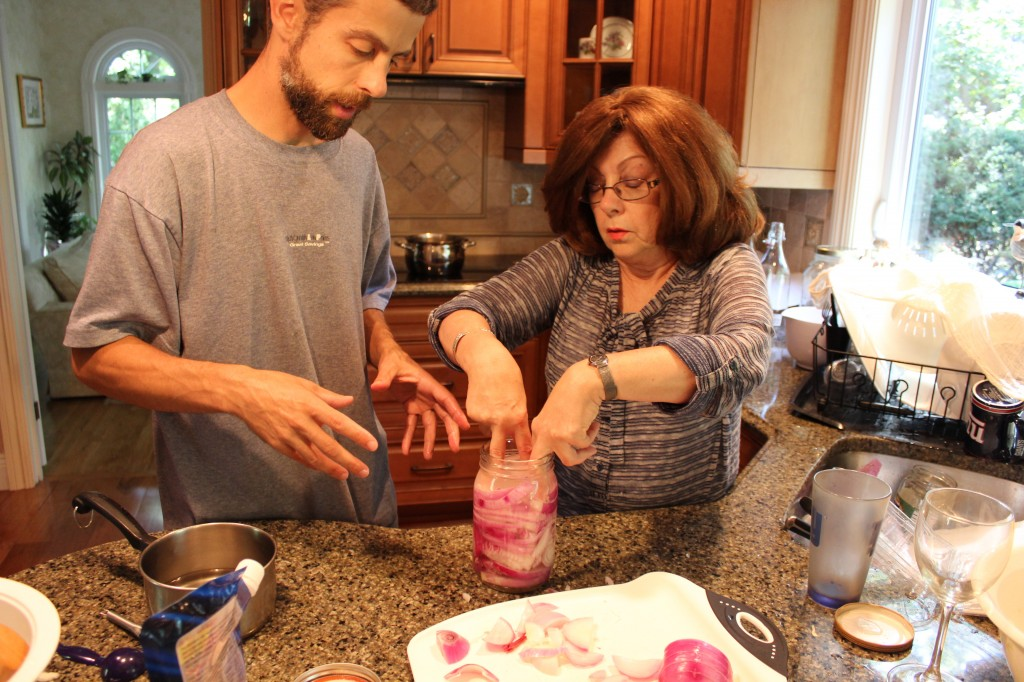 Teaching the art of making fermented foods at home to my Mom