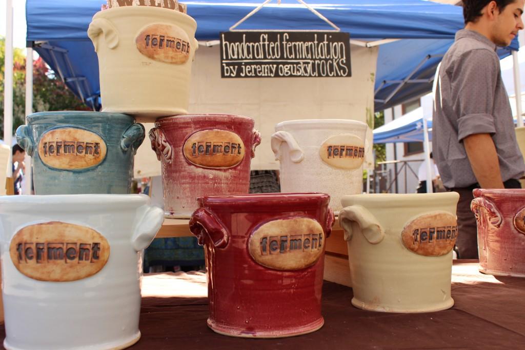 Handmade fermentation crocks on display