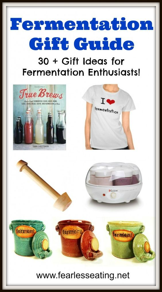 Know someone who loves fermentation? Here are 20+ ideas for fermented gifts - books, tools, crocks, kombucha supplies, jars, weights and even T-shirts!