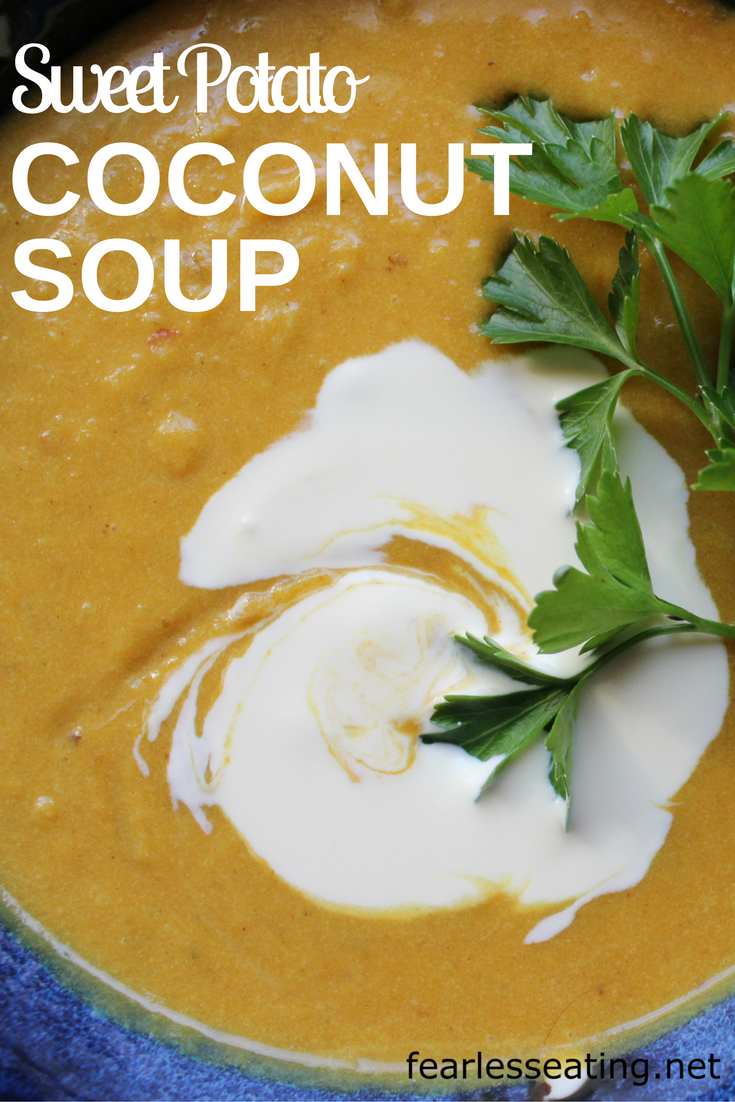 This sweet potato coconut soup recipe also combines ginger, garlic and curry. Top it with some creme fraiche for an extra does of creamy goodness.