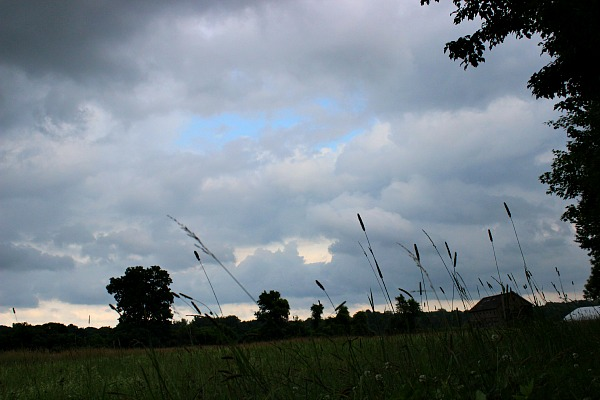 storm clouds on farm