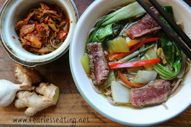 This is Asian beef noodle soup recipe is one of my favorites. The classic combo of ginger, garlic and soy sauce gives this recipe a quintessential east Asian flair.