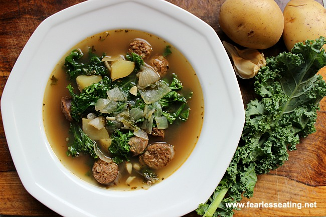Portuguese kale soup is both earthy, smoky and slightly spicy. Learn how to make it in 3 simple steps in this video demo.