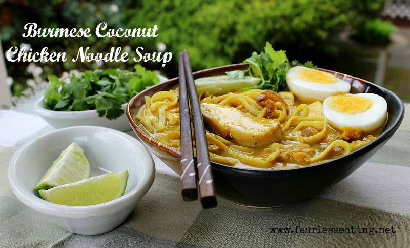 I had this Burmese coconut chicken noodle soup when I was in Yangon. Very memorable, the coconut milk and broth give it a deeply satisfying earthy sweetness.