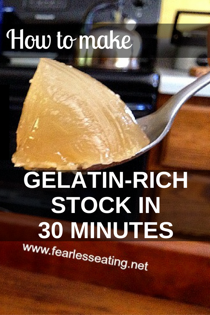 Yes, you really can make a gelatin-rich bone broth in only 30 mins.This method is great for those not willing or able to simmer broths for extended periods.