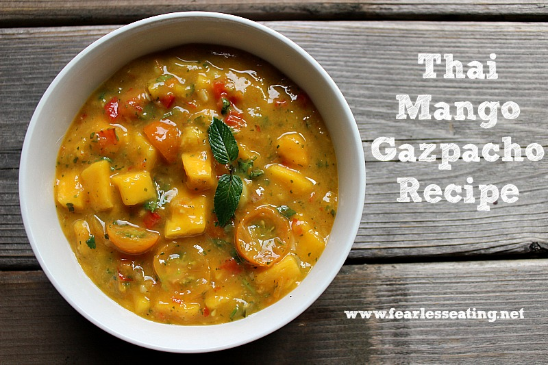This refreshing Thai mango gazpacho recipe consists of lime juice, Thai basil, mint and tomatoes and makes for a perfect cold soup on a hot summer day.