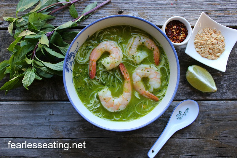 Thai Basil Pesto Soup with Shrimp - Fearless Eating