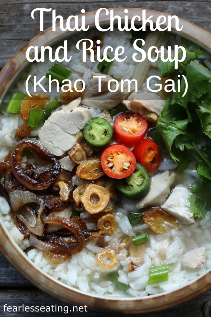 Khao tom gai, a very simple Thai chicken and rice soup, is quite similar to a chicken soup your grandmother would make. And it's super easy to make at home.