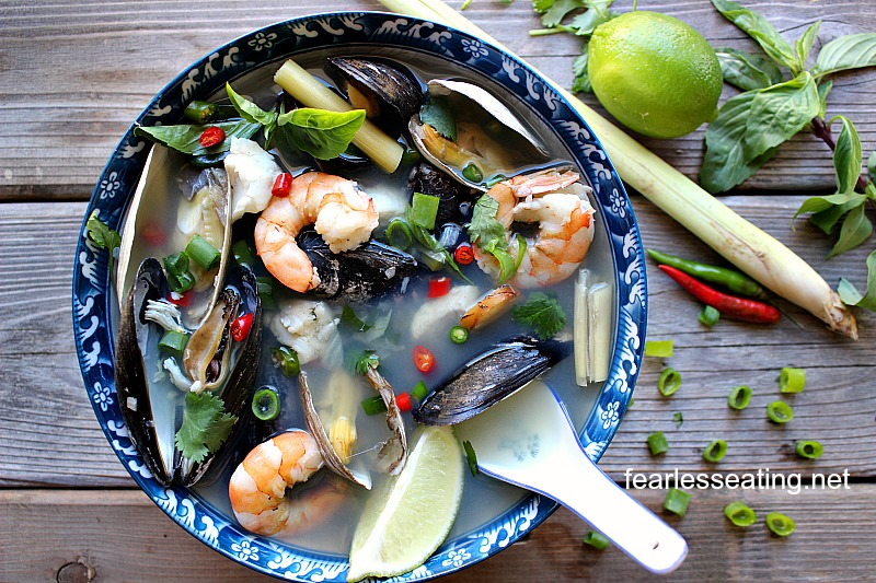A Thai bouillabaisse is sort of like a fusion between a bouillabaisse and a tom yum soup. If you love Thai cuisine and seafood, this is the recipe for you.