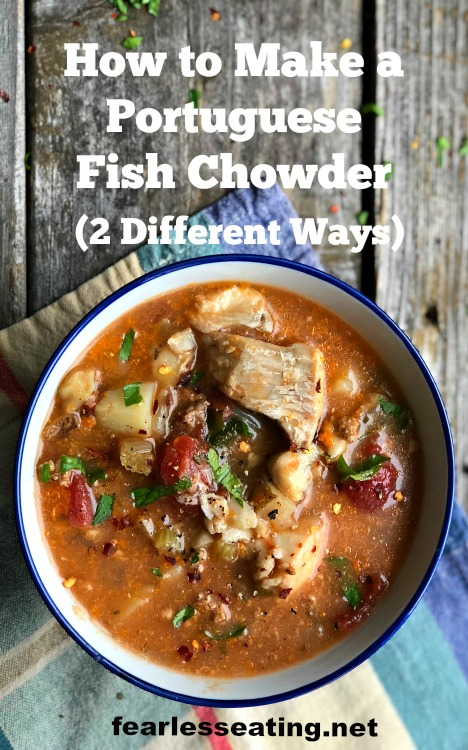 Portuguese fish chowder is a dairy-free version that includes chorizo sausage, spices, and of course, all the briny goodness of a typical seafood chowder.