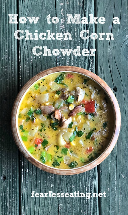 This simple chicken corn chowder recipe is made the old-fashioned way with heavy cream, slab bacon, potatoes, vegetables and grass-fed butter.