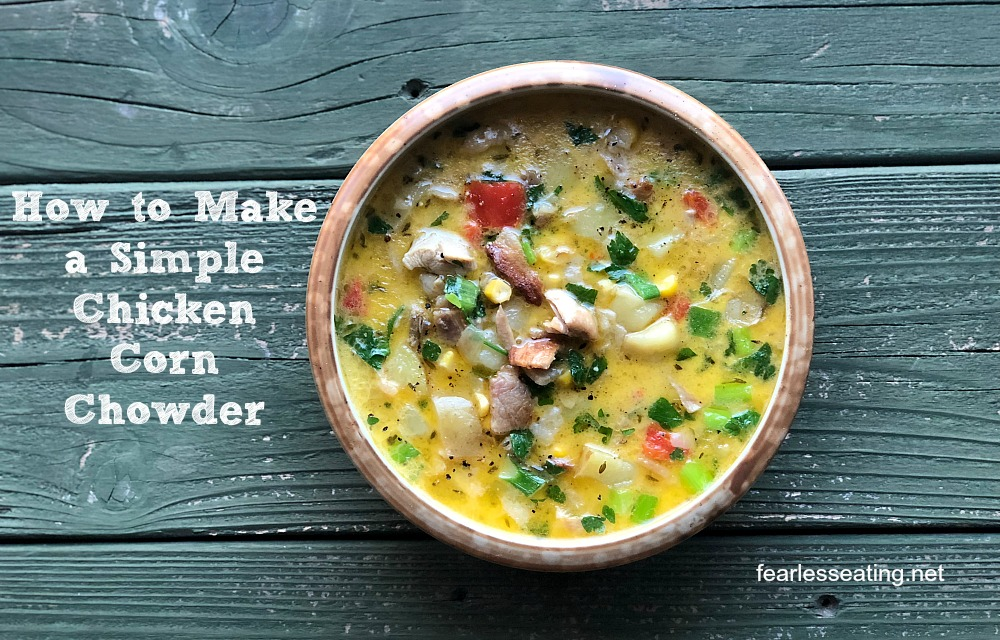 If you've never made a chowder before, this simple chicken corn chowder recipe would be a great place to start. It's made the old-fashioned way with heavy cream, slab bacon, potatoes, vegetables and REAL grass-fed butter.
