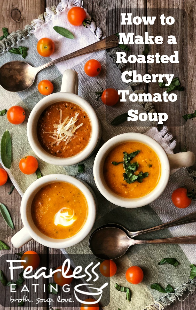From late summer into early fall, cherry tomatoes grow in such abundance that it\'s nice to learn how to use them beyond just putting them on salads. This roasted cherry tomato soup is a great example. And you can freeze large batches for those long winter months.   #souprecipe #tomatosoup #tomatoes #cherrytomatoes #tomatosouprecipe #cherrytomatosoup