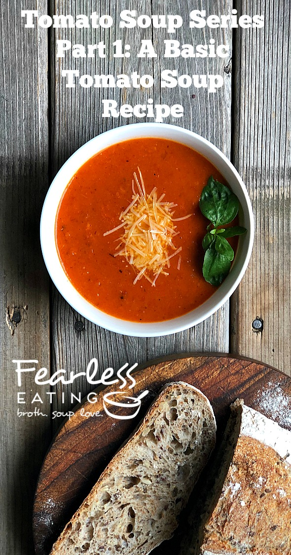 Welcome to part I in my tomato soup series! The purpose of this series is to expand your horizons for using the bounty of fresh in season tomatoes. Let\'s start with a simple and basic tomato soup recipe, one that you can easily tweak by adding different veggies, herbs and toppings. 