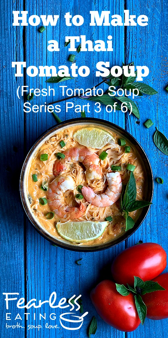 Thai tomato soup is a fusion between a classic tomato soup and a Thai coconut curry made with, lemongrass, galangal, lime, curry paste, fish sauce and more!