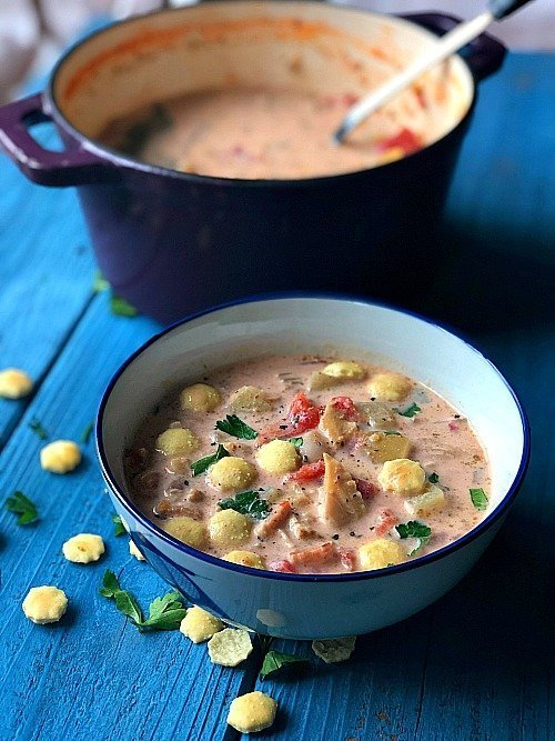 pink chowder aka long island clam chowder