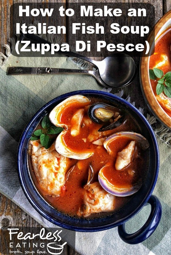 Zuppa Di Pesce, an Italian fish soup, is a simple but delicious combination of garlic, tomatoes, white wine, fish stock, fresh fish, shellfish and herbs. There are millions of recipes with millions of variations but there are two important keys that will make your recipe stand out from the rest.   #Italianfishsoup #fishsoup #zuppadipesce #italiansoup #fishsouprecipe