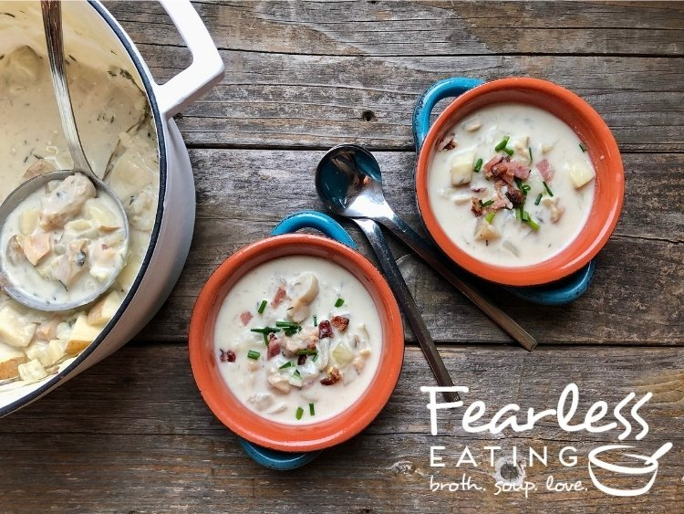 two bowls of authentic new england clam chowder