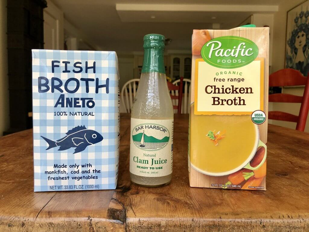 three types of store-bought broth - fish, clam, and chicken