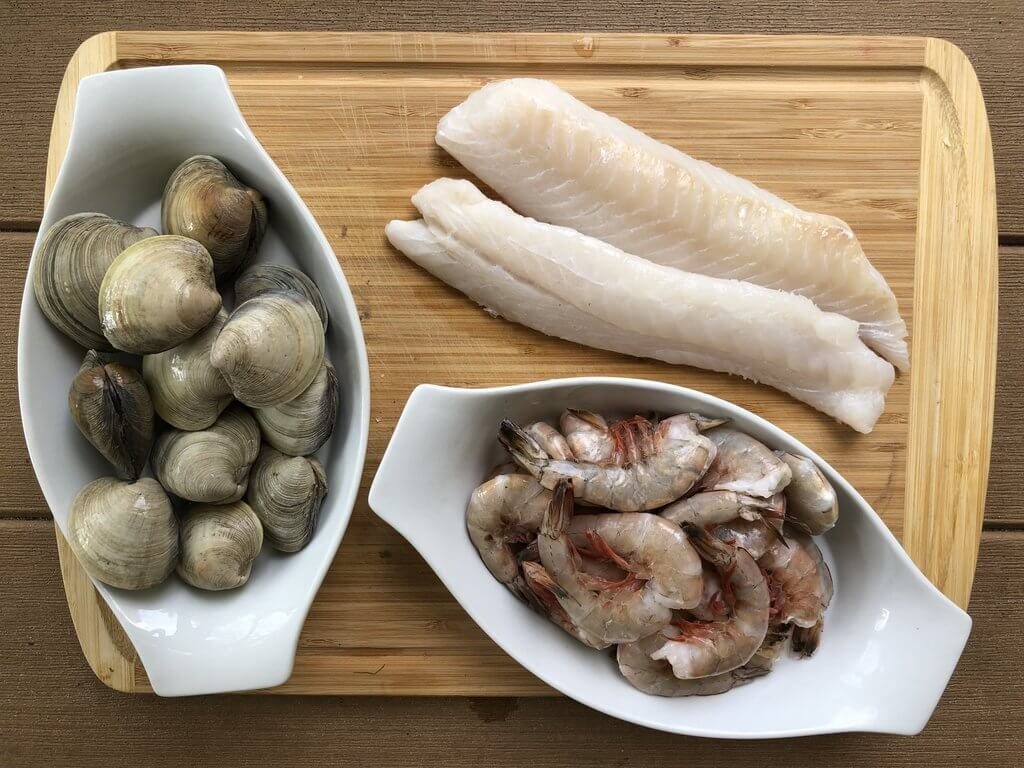 clams, whitefish, and shrimp